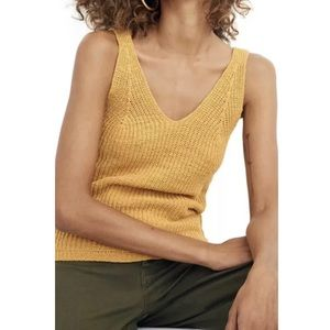 Madewell Monterey Sweater Tank Top Gold Knit NEW